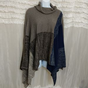 BCBGMaxAzria Color Block Blue Brown Sweater Poncho